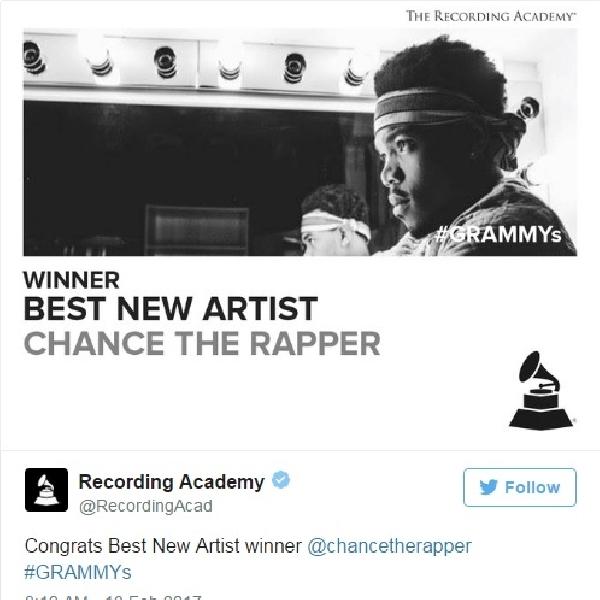Chance The Rapper Berhasil Sabet Best New Artist di Grammy Awards Ke-59