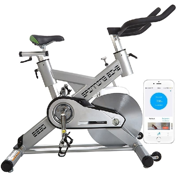 ESMARTGYM Indoor Exercise Bike, Sepeda Statis Terkoneksi Smartphone